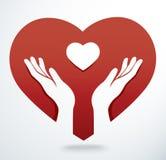Hands pray in a heart shape vector. EPS10 Stock Photos
