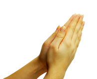 Hands in prayer. Gesture on white Stock Photo
