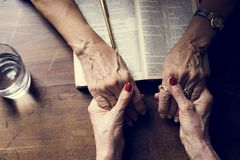 Hands prayer faith in christianity religion royalty free stock image
