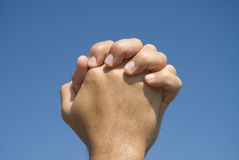 Hands in prayer gesture Royalty Free Stock Images