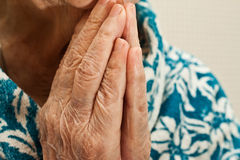 Hands in prayer, an old woman praying. Pair of hands in a prayer of the old woman's chin Royalty Free Stock Image