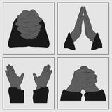 Hands in prayer. Vector icons of religious signs in the form of hands. Hands are for prayer Royalty Free Stock Images