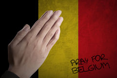 Hands praying for Belgium Royalty Free Stock Photography