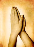 Hands Praying Sepia Toned. Hands of a person raised together in prayer sepia toned stock photography