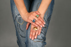 Hands with precious rings Stock Photos