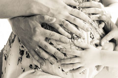 Hands on a pregnant belly Stock Photography