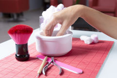Hands preparing for manicure Stock Images