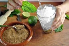 Hands preparing mojito cocktail Stock Photo