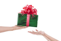 Hands with a present Stock Image