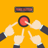 Hands pressing panic button. Businessmen pressing panic button on yellow background. Social media button. Start up business concept. Vector illustration of a red Royalty Free Stock Photos