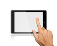 Hands are pressing on Tablet PC on white Stock Images