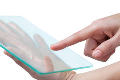 Hands pretending to use digital tablet Stock Photography