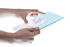 Hands pretending to use digital tablet Stock Photos