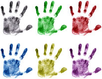 Hands print. (color) on white royalty free illustration