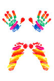 Hands print and footprints of small baby. Watercolor hands print and footprints of small baby Stock Image