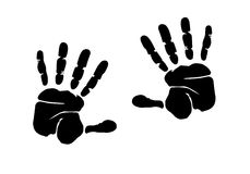 Hands print illustration. Hands print one colour illustration design Royalty Free Stock Photo