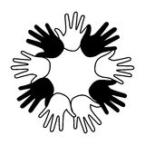 Hands print paint around Royalty Free Stock Photography