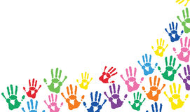Hands  prints colorful vector background Stock Image