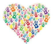 Hands  prints in heart colorful vector Royalty Free Stock Photos