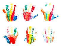 Hands prints made by children Stock Photos