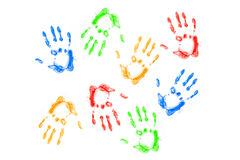 Hands prints  on white background Stock Image
