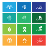 Hands protect and care icons Royalty Free Stock Photography