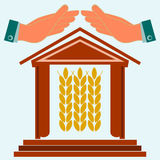 Hands protect the house with ears of wheat. Warehouse for storing grain. Exchange of grain. Investments in agriculture stock illustration