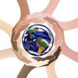Hands protecting the world logo icon image vector. Hands protect the world logo icon vector template background artwork graphic icon logotype Royalty Free Stock Image