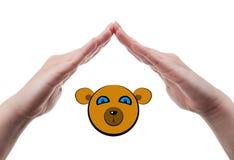 Hands protecting a bear Royalty Free Stock Photos