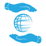 Hands protecting the globe icon Stock Images