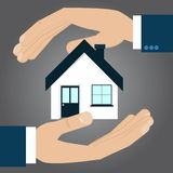 Hands protecting house, insurance concept. Vector illustration Royalty Free Stock Photography