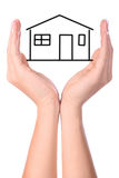 Hands Protecting Imaginary House Stock Photos