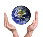 Hands protecting planet earth Royalty Free Stock Photo