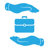 Hands protecting portfolio case icon Royalty Free Stock Photo