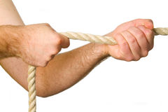 Hands pull a rope Stock Image