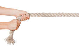 Hands pull a rope. Isolated white background Royalty Free Stock Photos