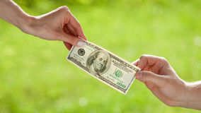 Hands pulling dollar banknote Stock Images