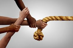 Hands Pulling Rope Team Concept stock illustration