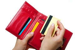 Hands with a purse and card Stock Image