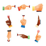 Hands push buttons vector set. Stock Images