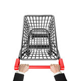 Hands pushing 3D empty shopping cart high angle view Stock Photos