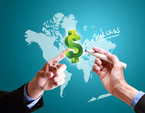Hands pushing finance structure worldwide Royalty Free Stock Images