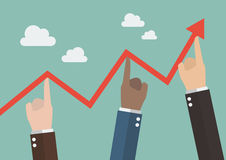 Hands pushing graph up Stock Image