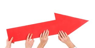 Hands pushing red arrow up Royalty Free Stock Photo