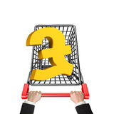 Hands pushing shopping cart with 3D golden pound sterling symbol. High angle view, isolated on white royalty free stock photo