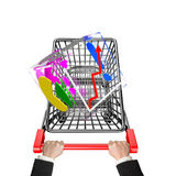 Hands pushing shopping cart with glass transparent cube Stock Photos