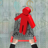 Hands pushing shopping cart with red 3D man Stock Photography