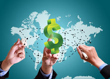 Hands pushing strategy with finance structure worldwide Stock Image