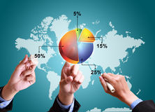 Hands pushing strategy with pie chart diagram structure worldwide Royalty Free Stock Photo