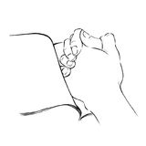 Hands put on a book as praying line art illustration. Christianity art faith and hope. Royalty Free Stock Photography